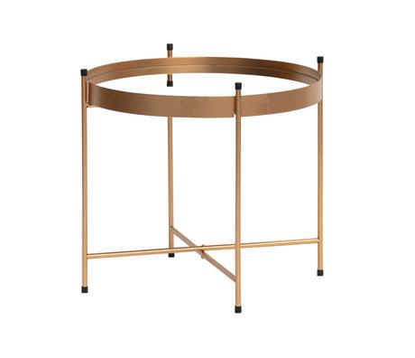 WOOOD Table d'appoint avec miroir Faris cuivre métal Ø48x42cm