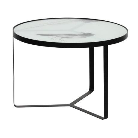 BePureHome Table d'appoint Fly métal noir verre Ø55x38cm