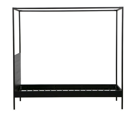 LEF collections Canopy bed Baron black metal 205x95x190cm
