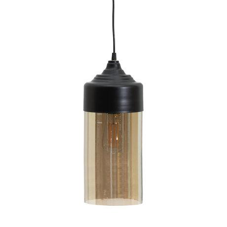 LEF collections Hanging lamp Pippa black glass metal Ø12x32cm