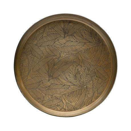 BePureHome Dienblad Notch antiek brass goud ijzer Ø44x9cm