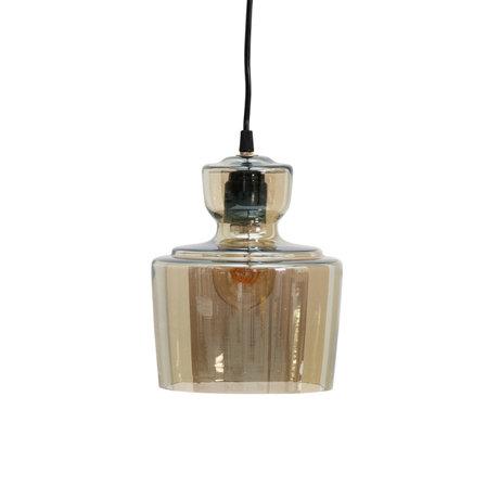 BePureHome Hanglamp Steam antiek brass goud glas Ø17x24cm