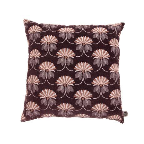 BePureHome Coussin Floral coton bordeaux rouge 48x48cm
