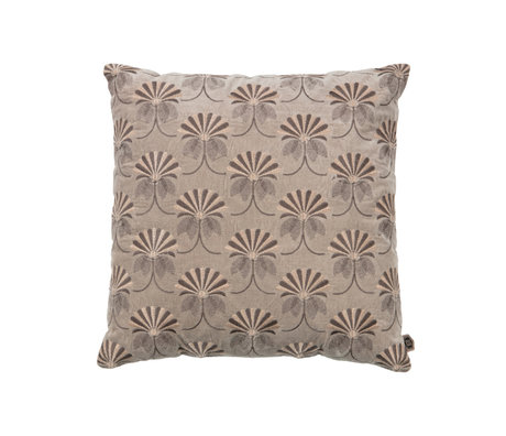 BePureHome Coussin Floral coton kaki marron 48x48cm