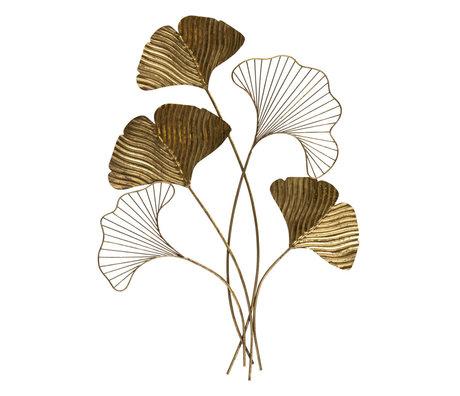 BePureHome Wanddecoratie Leafage antiek brass goud ijzer 57x3x79cm