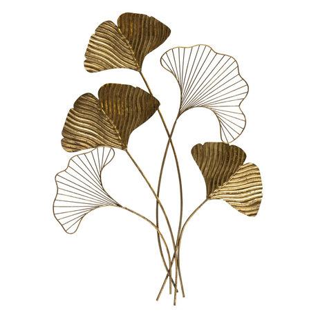 BePureHome Wanddekoration Blatt Antik Messing Gold Eisen 79x57x3cm