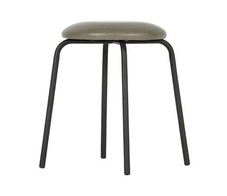 BePureHome Tabouret Fifties en acier polyester vert olive 46x36x36cm