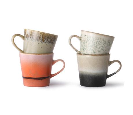 HK-living Tasse à café 70's Americano multicolore en céramique lot de 4