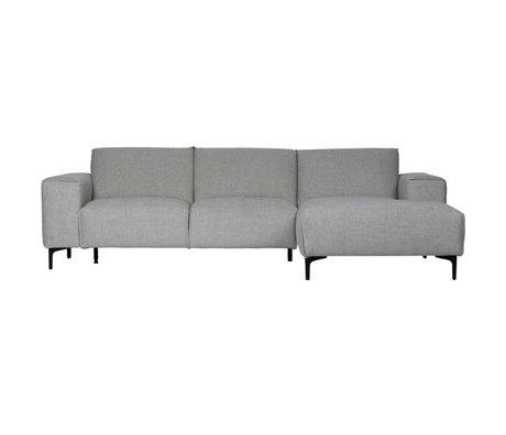 LEF collections Bank chaise longue rechts Linde grijs textiel 260x92/163x80cm