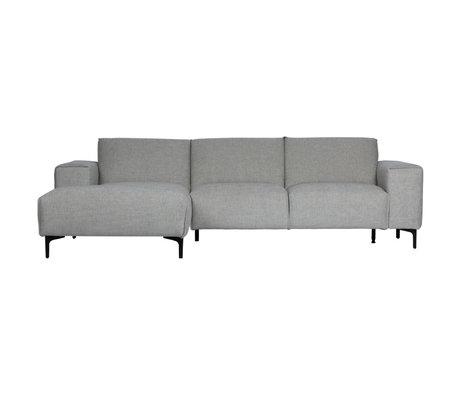 LEF collections Bank chaise longue links Linde grijs textiel 260x92/163x80cm
