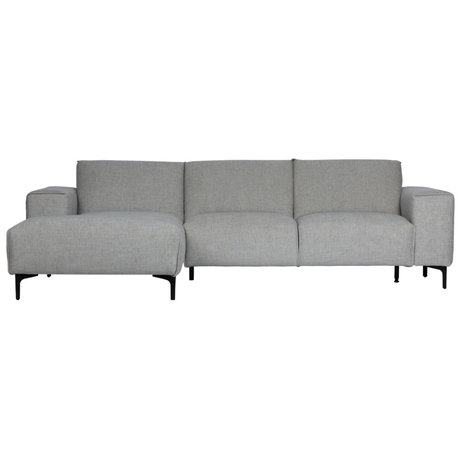 LEF collections Canapé méridienne gauche Linde gris textile 260x92 / 163x80cm