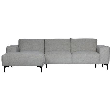 LEF collections Sofa chaise longue left Linde gray textile 260x92 / 163x80cm