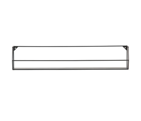 LEF collections Wall shelf Zeta XL black iron 80x16x16cm