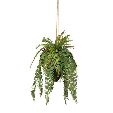 LEF collections Plante artificielle suspendue Fougère verte en plastique 30x30x58cm