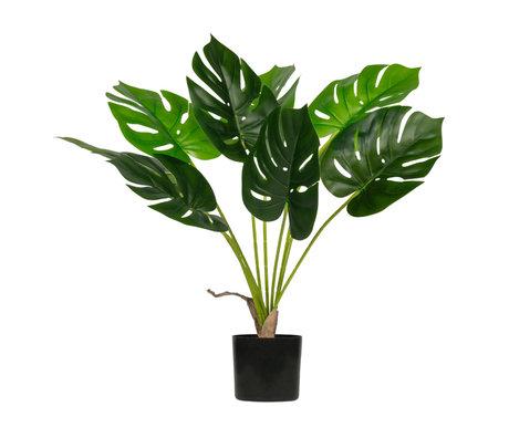 LEF collections Künstliche Pflanze Monstera grüner Kunststoff 70x70x70cm