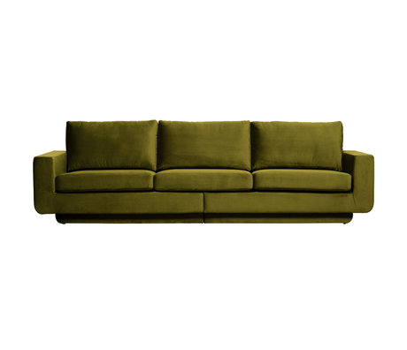 BePureHome Bank Fame 3 places velours vert olive 282x92x84cm