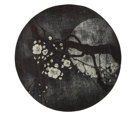 BePureHome Tapis Night Blossom polyester noir blanc Ø150x1cm