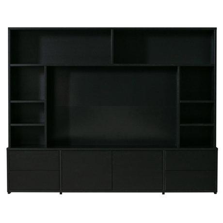WOOOD TV Wandmeubel Maxel zwart hout 215x44x171cm