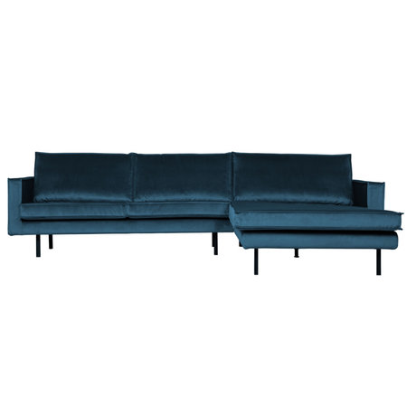 BePureHome Bank Rodeo chaise longue rechts petrol blauw 300x86/155x85cm
