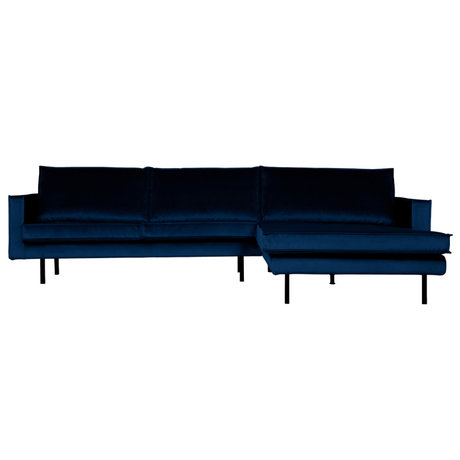BePureHome Bank Rodeo chaise longue rechts donkerblauw fluweel 300x86/155x85cm
