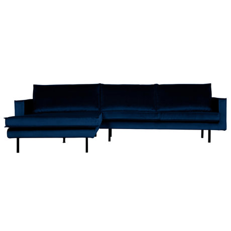 BePureHome Bank Rodeo chaise longue links donkerblauw fluweel 300x86/155x85cm