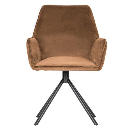 WOOOD Chaise de salle à manger velours marron ambre polyester 88x60x61cm