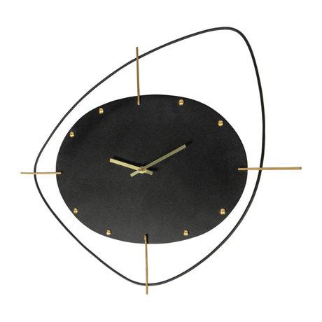 BePureHome Wandklok Two O'clock zwart metaal 58x3x46cm