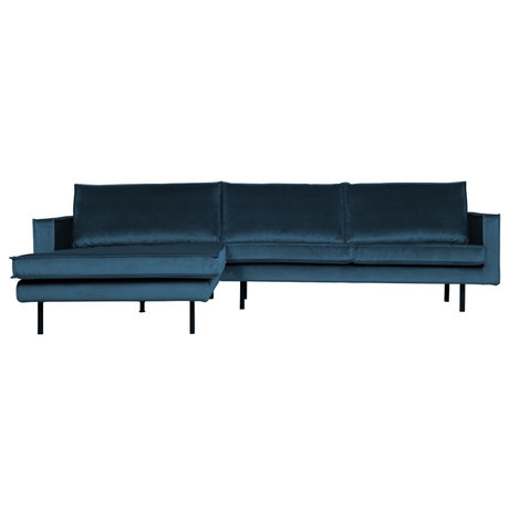 BePureHome Bank Rodeo chaise longue petrol blauw fluweel 300x86/155x85cm