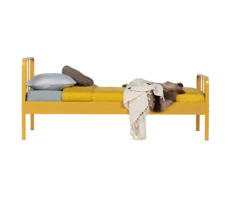 LEF collections Bed Mees mosterd geel staal 95x90x208cm