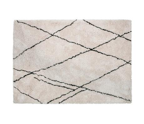 WOOOD Teppich Cleo cremefarbenes schwarzes Textil 170x240cm