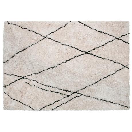WOOOD Tapis Cleo blanc cassé noir textile 170x240cm