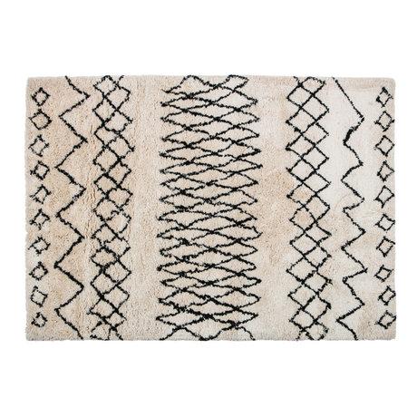 LEF collections Teppich Nando cremefarbenes schwarzes Textil 160x230x4,5cm