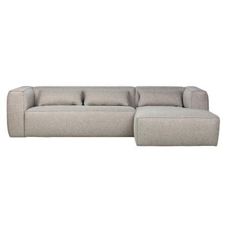 WOOOD Canapé d'angle Bean droit gris clair polyester coton 305x96 / 175x73cm