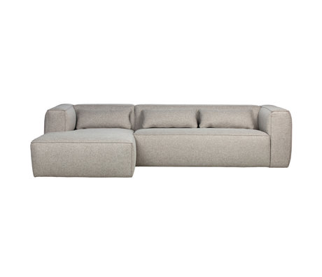 WOOOD Ecksofa Bean links hellgraue Polyester-Baumwolle 73x305x96 / 175cm