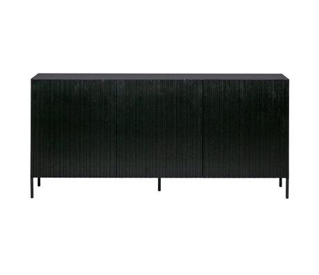 WOOOD Buffet Gravure en pin noir métal 85x180x46cm