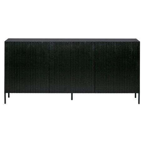 WOOOD Sideboard Engraving black pine metal 85x180x46cm