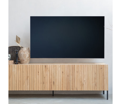 WOOOD Meuble TV Gravure en bois naturel brun métal 56x180x46cm