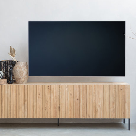 WOOOD TV cabinet Engraving natural brown wood metal 56x180x46cm