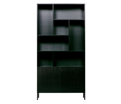 WOOOD Boekenkast Gravure zwart grenen metaal 100x37x200cm