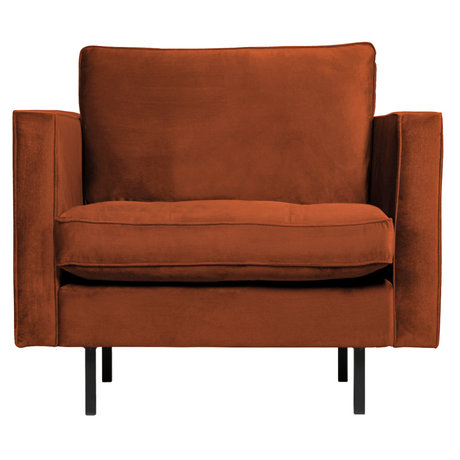 BePureHome Fauteuil Rodeo Classic roestbruin fluweel 98x88x83cm