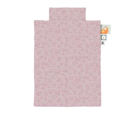 Sebra Dekbedovertrek Jersey baby Forest poeder roze 70x100cm incl. kussensloop 45x40cm
