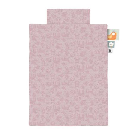 Sebra Housse de couette Jersey bébé Forest rose poudré 70x100cm avec taie d'oreiller 45x40cm