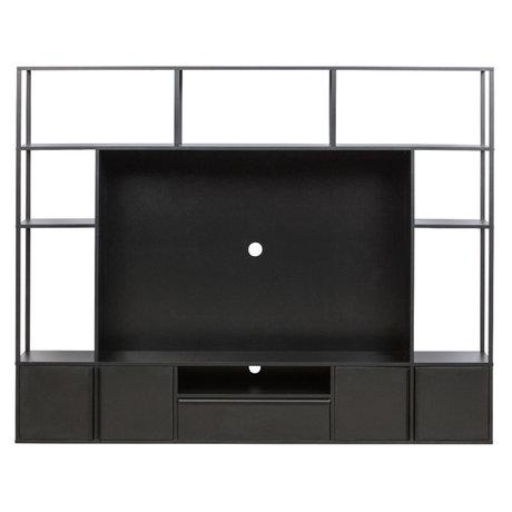 LEF collections TV wandmeubel Toby zwart metaal hout 200x35x160cm