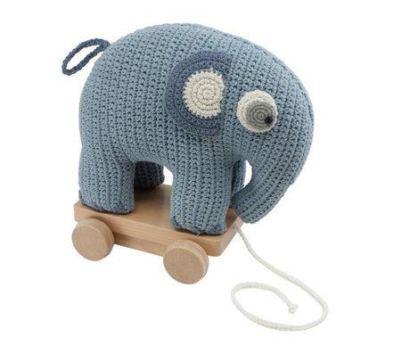 Sebra Pull animal éléphant Fanto poudre bleu coton 24x13x25cm