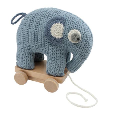 Sebra Ziehen Sie Tierelefanten Fanto puderblaue Baumwolle 24x13x25cm