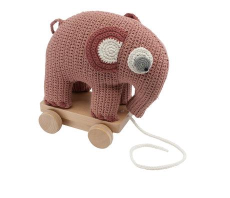 Sebra Pull animal éléphant Fanto rose poudré coton 24x13x25cm