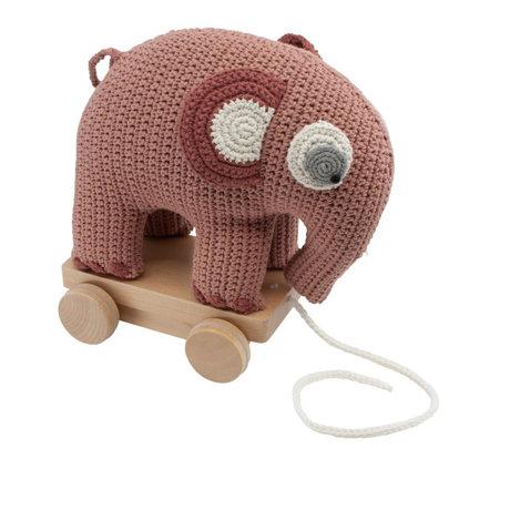 Sebra Pull animal elephant Fanto powder pink cotton 24x13x25cm