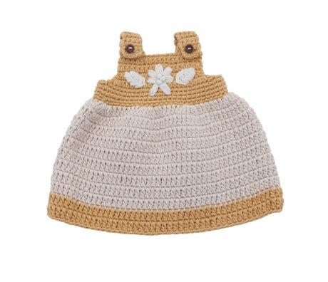 Sebra Puppenkleider Kleid goldgelbe Baumwolle 40cm
