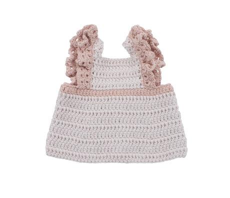 Sebra Vêtements de poupée robe tablier coton rose bonbon 40cm