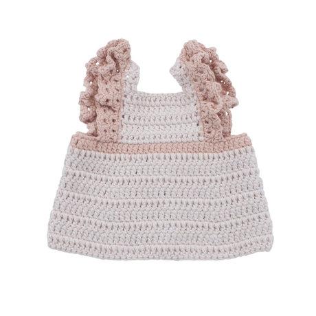 Sebra Doll clothes dress apron candy pink cotton 40cm